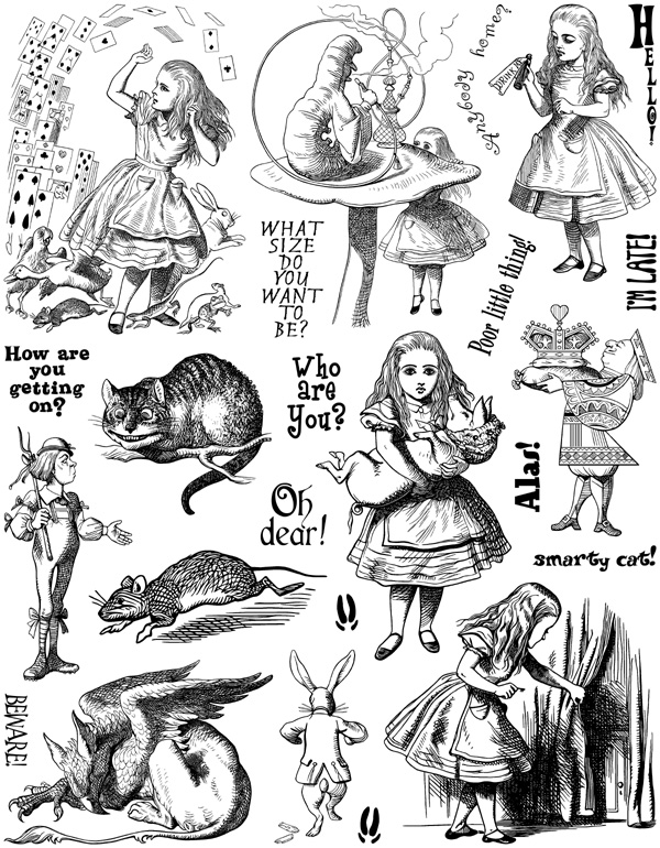 Alice in Wonderland Set #5 Unmounted Rubber Stamp Sheet