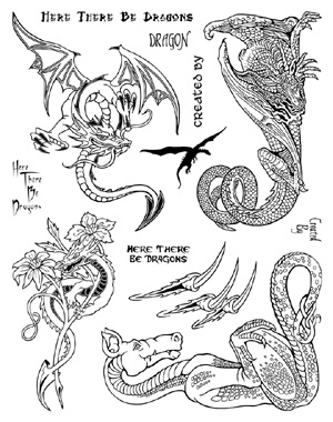 Dragons Unmounted Rubber Stamps